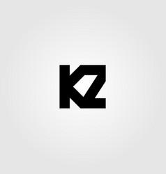 initial letter k z logo icon design vector image