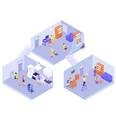 Interior house cleaning isometric composition vector
