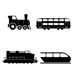 Isolated trains silhouettes set vector