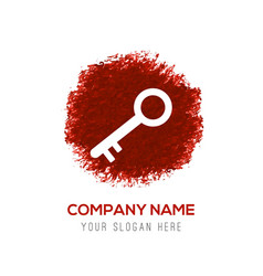 key icon - red watercolor circle splash vector image