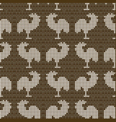 knitting brown with roosters vector image