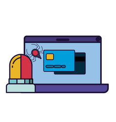 laptop screen with credit card icon isolated vector image