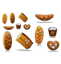 Large set of cartoon loaves of bread vector