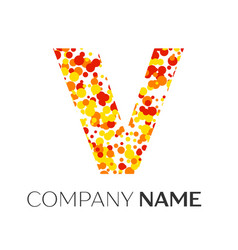 letter v logo with orange yellow red particles vector image
