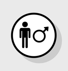 male sign flat black icon in vector image