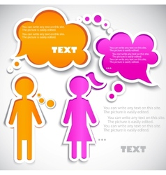 Male talking with female paper bubbles for speech vector