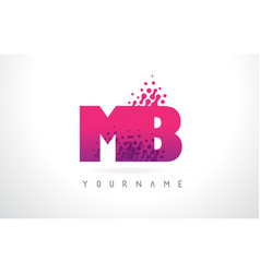 Mb m b letter logo with pink purple color and vector