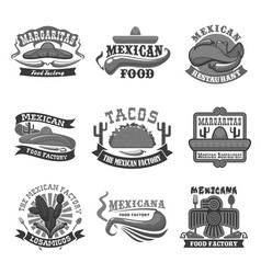 Mexican cuisine restaurant icons set vector