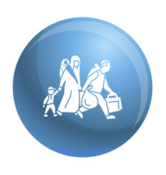 Migrant family leave home icon simple style vector