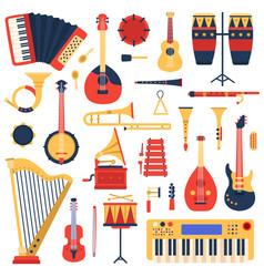 musical instruments cartoon doodle music guitar vector image