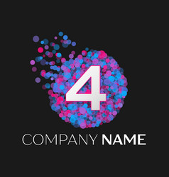 number four logo with blue purple pink particles vector image