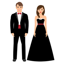 official evening clothes fashion couple vector image