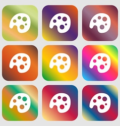 Palette icon Nine buttons with bright gradients vector image