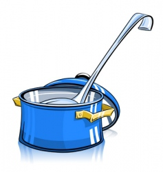 pan with lid and ladle vector image