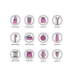 Personal hygiene items and life without plastic vector