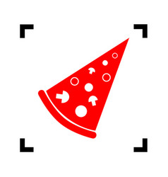 Pizza simple sign red icon inside black vector