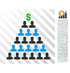 Ponzi pyramid scheme flat icon with bonus vector