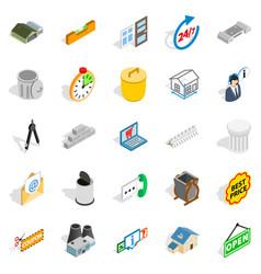 power plant zone icons set isometric style vector image