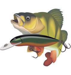 Predator perch with artificial bait vector