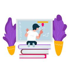 Preschooler pupil writing on blackboard education vector