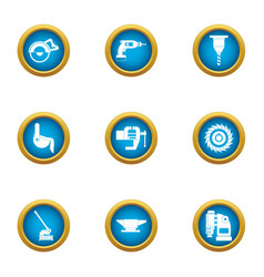 produce a tool icons set flat style vector image