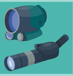 professional binoculars glass look-see spyglass vector image