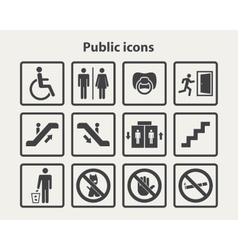 Public information icons set vector