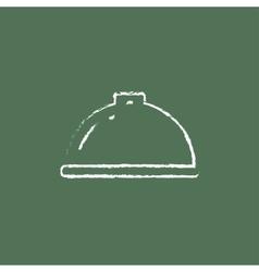 Restaurant cloche icon drawn in chalk vector image