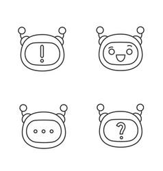 Robot emojis linear icons set vector