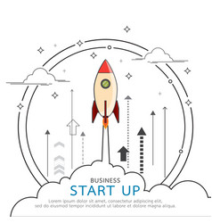 rocket style in business concept flat line design vector image