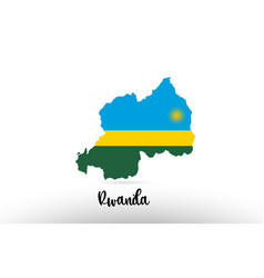 rwanda country flag inside map contour design vector image