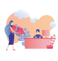 Satisfied client cartoon woman and cashier banner vector