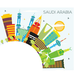 saudi arabia skyline with color landmarks blue vector image