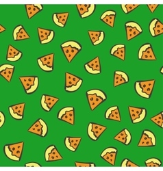 seamless pizza pattern vector image