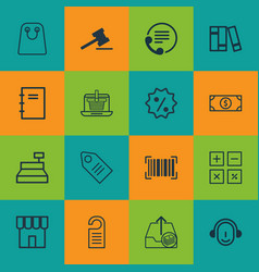 set of 16 e-commerce icons includes outgoing vector image