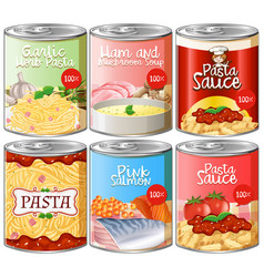 set of canned pasta sauce vector image