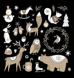 Set of cute doodle sketches christmas clip-arts vector