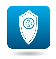 Shield with a cross icon simple style vector