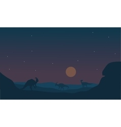 Silhoette of parasaurolophus at night vector image