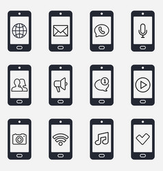 smartphone icon set smartphone function icons vector image