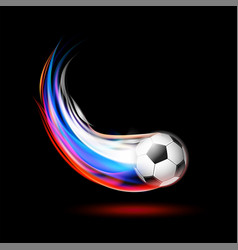 soccer ball with flame trail of russian flag vector image