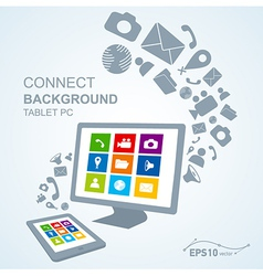 tablet pc copy file computer vector image