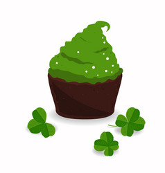 tasty cupcake and clover isolated on white saint vector image