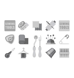thread supplies set sewing tailoring equipment vector image