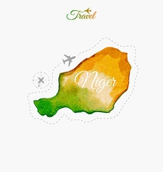 Travel around the world Niger Watercolor map vector