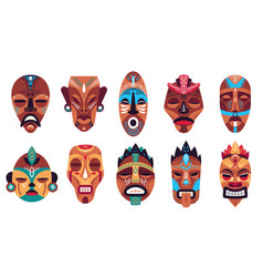 tribal mask color hawaii totem ritual or vector image