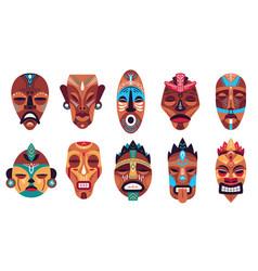 tribal mask color hawaii totem ritual or vector image