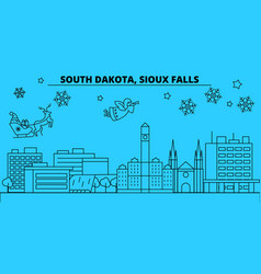United states sioux falls winter holidays skyline vector