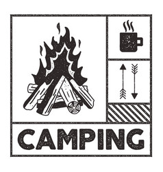 Wanderlust camping stamp old school hand drawn t vector