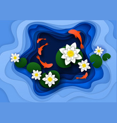 Water lily background paper art vector